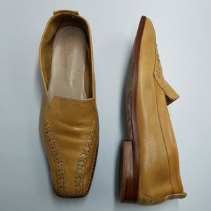 Bally's Fatto A Mano Tan Leather Slip On Loafers